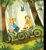 MiniLO i Aniela jeżdżą na rowerach w parku
